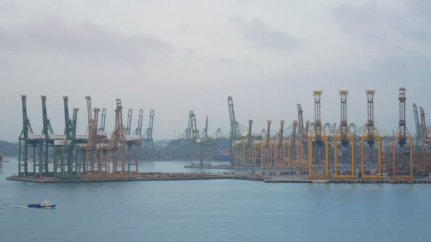 4K. Singapore shipping port with cargo ship sailing slowly on the sea and many container and yellow cranes in background
