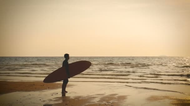 4K. silhouette of surfer man stand on the sea beach with long surf boards at sunset on tropical beach, vintage color style