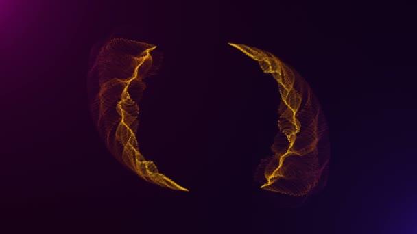 4k riprese di particelle astratte luce dorata che corre sulla forma del cerchio su sfondo viola. movimento oro di sfondo, loop senza soluzione di continuità