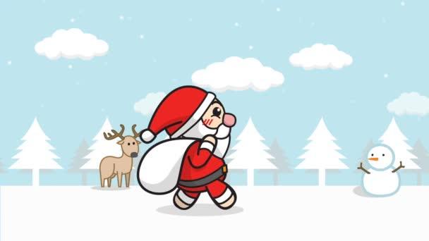 Vánoční poutko pro Santa Clause. v něm kreslený Santa Claus s dárkovým pytlem, který kráčel ve sněžných lesích s zimní krajinou, padal sníh, sněžný muž na pozadí. veselý vánoční záběr