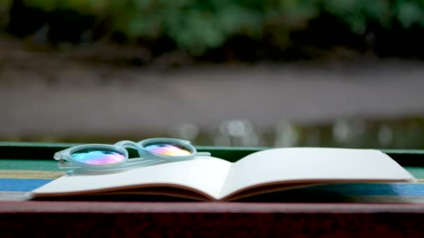 4K. cinemagraph of blank book with flowerpot on the wooden table against the sparkling river background