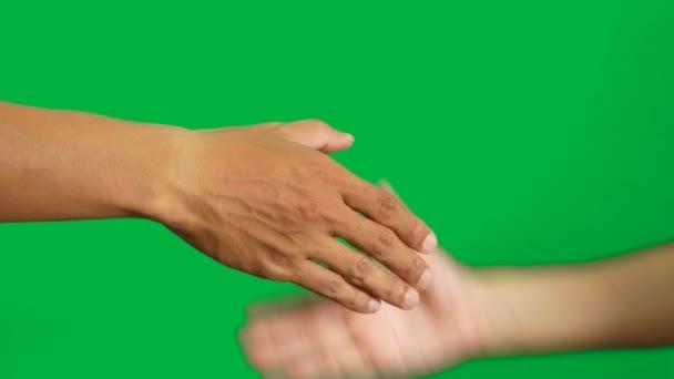4k. muž a žena v rozdílu barva pleti třesoucí se ruce pro obchodní dohodu izolované na chroma klíč zelené obrazovce pozadí