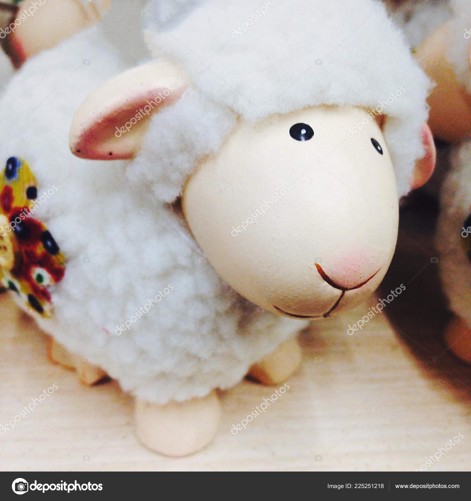 new year card with a sheep christmas decoration stock photo