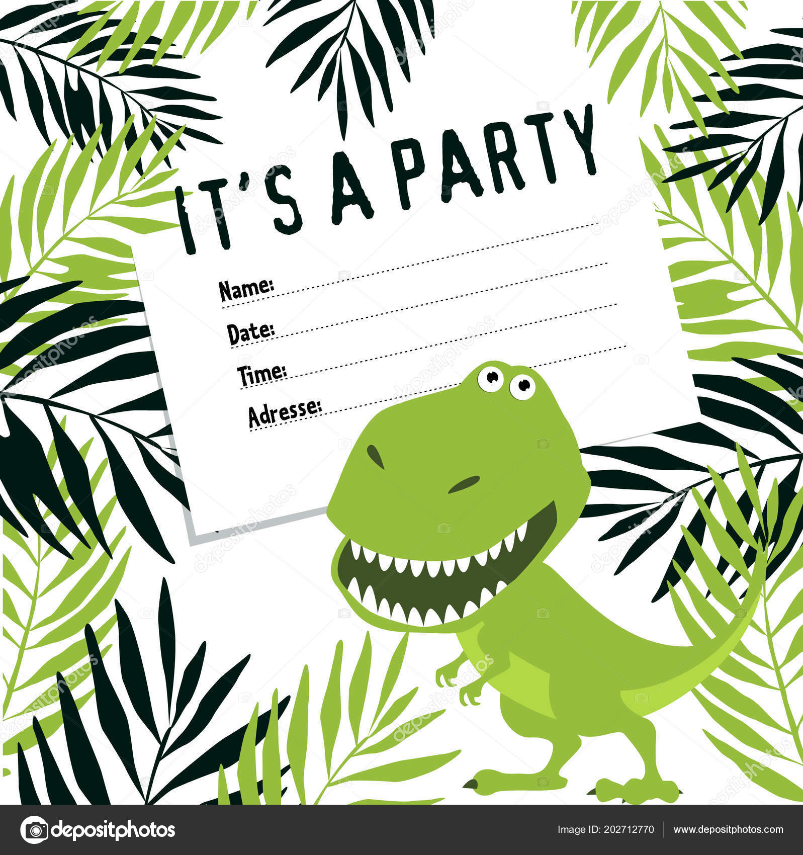 Invitation Party Dinosaurs Birthday Cartoon Funny Dinosaur ...