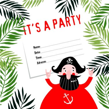 Invitational to a pirate party. Birthday. Cartoon funny pirate.