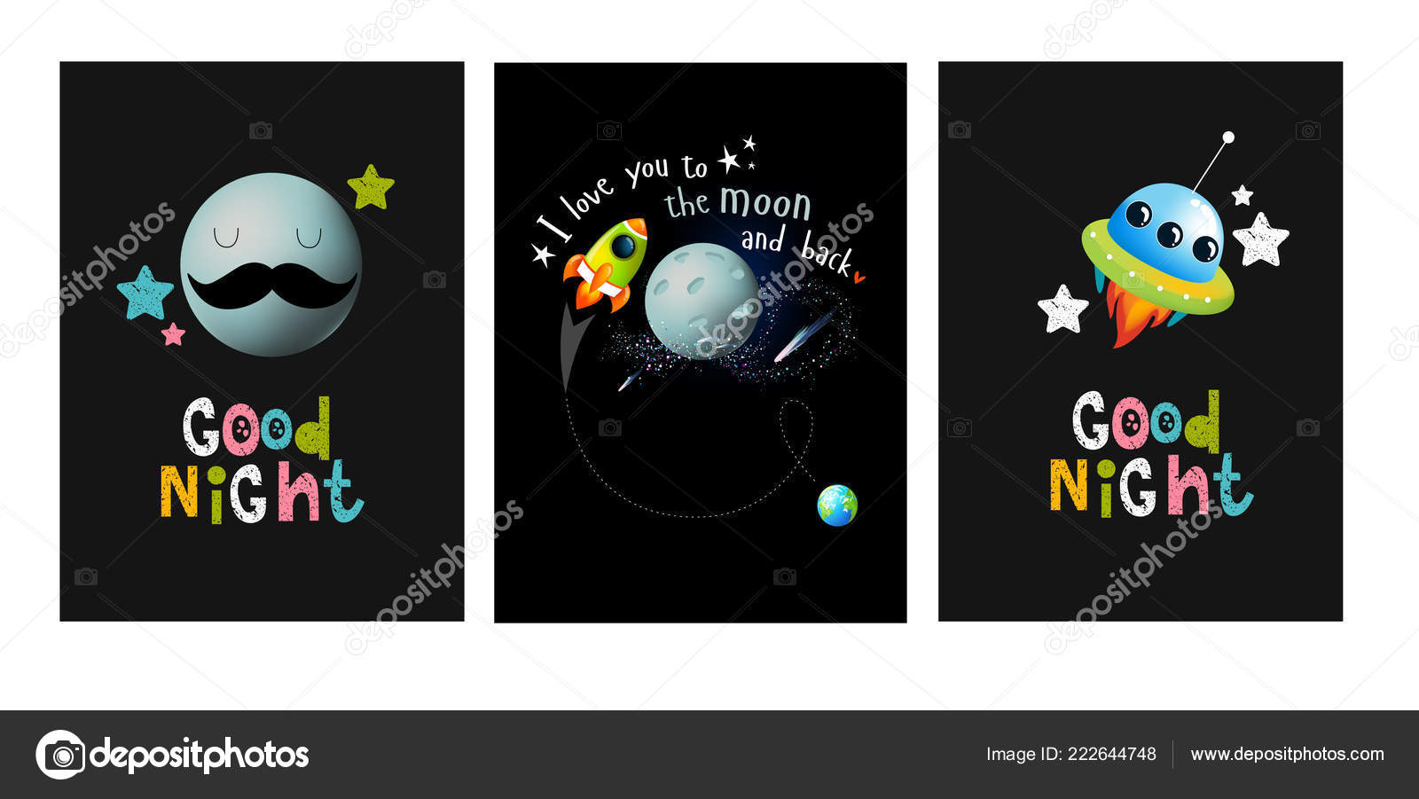 Posters Love You Moon Back Good Night Moon Space Rocket