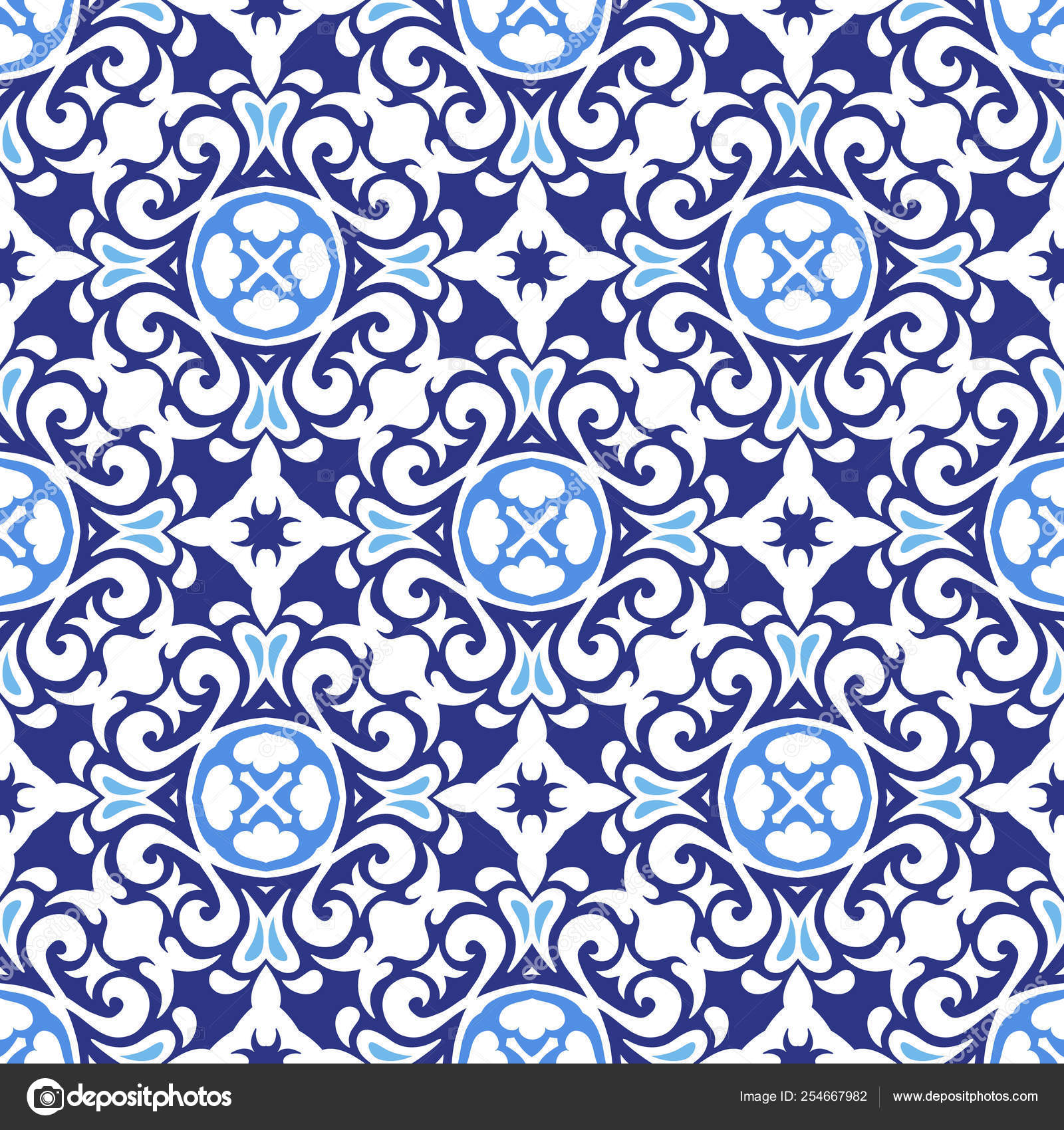 Damask Seamless Tiles Vector Surface Design In Blue Colors Chinese Porcelain Style Vector Image By C Astya Vector Stock 254667982