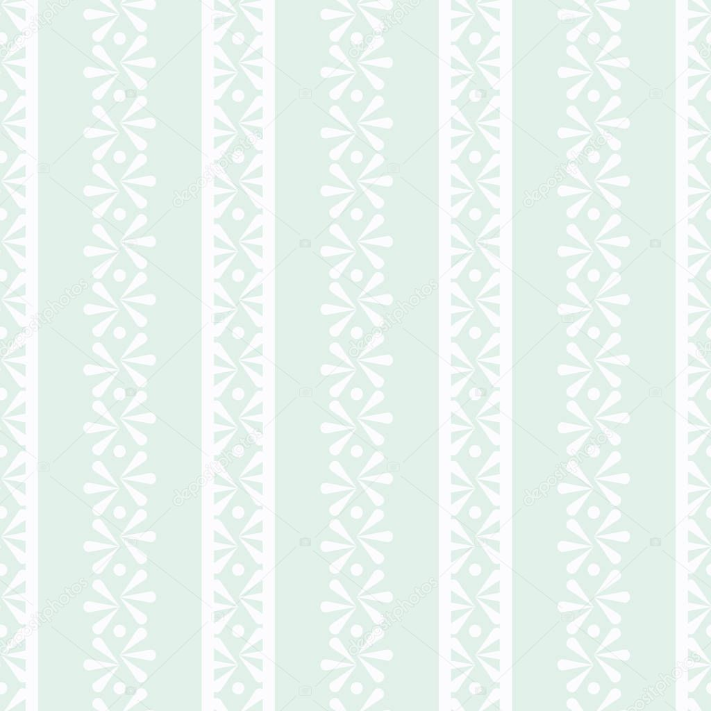Vector Delicate Daisies Border on Light Green seamless pattern background.