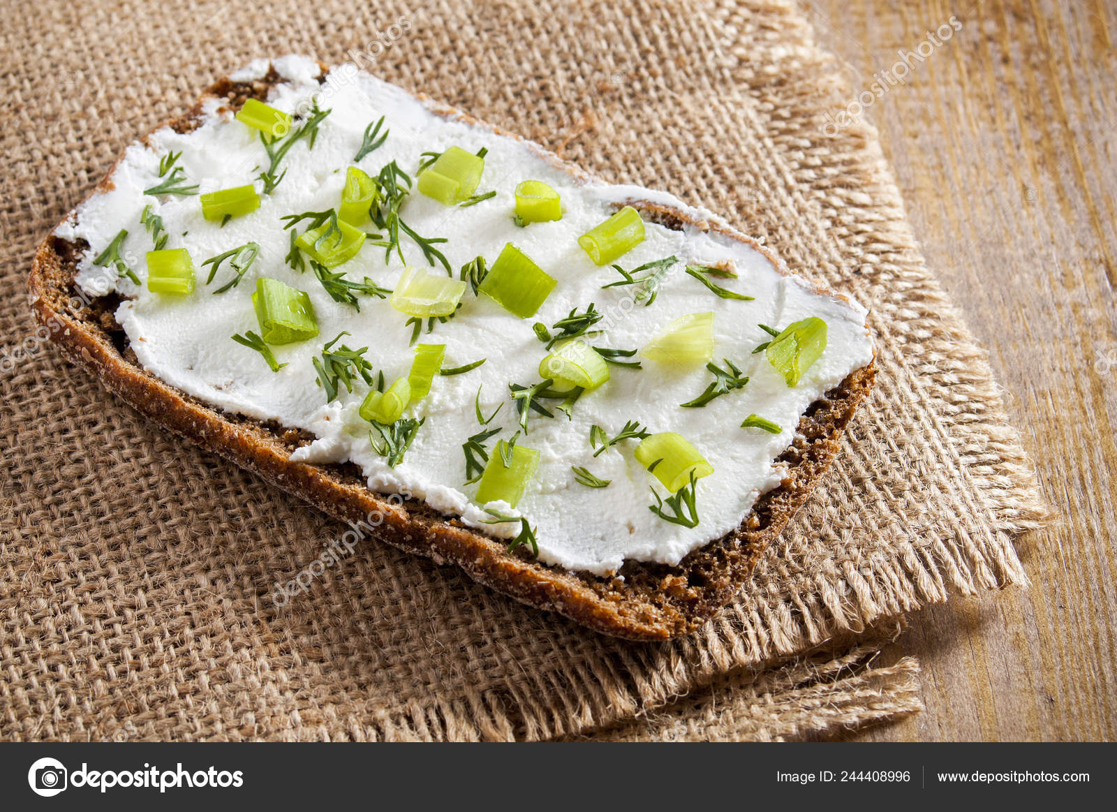 Sandwich Rye Bread Curd Cheese Dill Chives Stock Photo