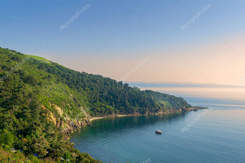 View from the top of mountains of Buyukada island, one of the Princess Islands (Adalar), Marmara Sea, Istanbul, Turkey, with green woods, calm sea, and clear sky