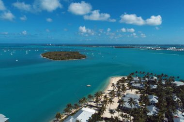 Aerial view of nearst Fort Zachary Taylor, Key West, Florida, United States. Caribbean sea. Great landscape. Travel destination. Tropical travel.