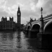 Black and white picture of famous London Big Ben in England