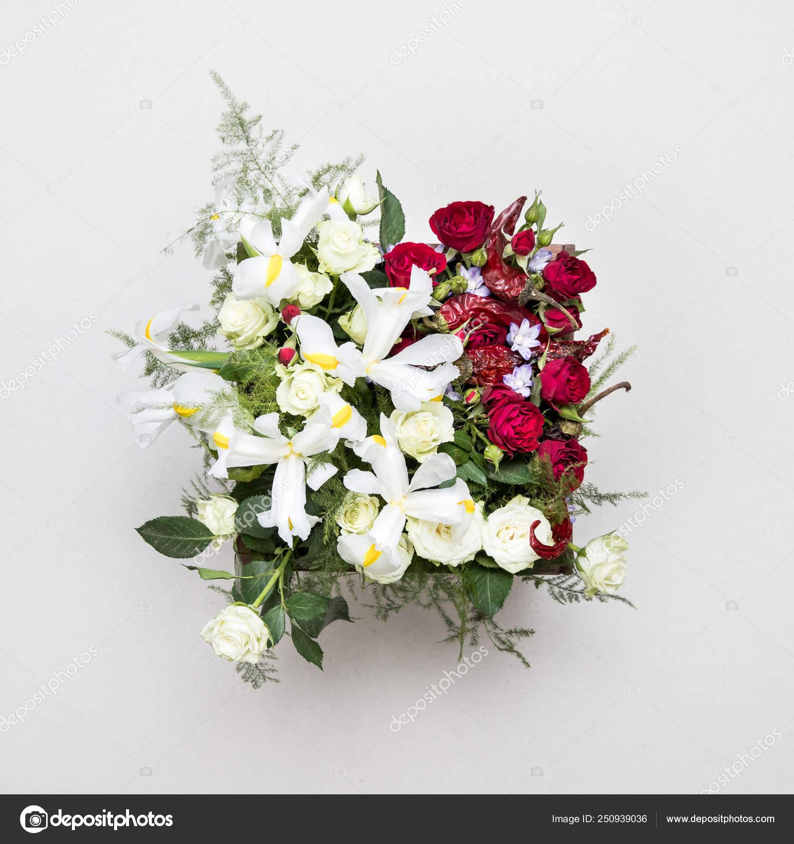 Arrangement Fleur Original Bouquet Fleurs Verts Isolés Sur