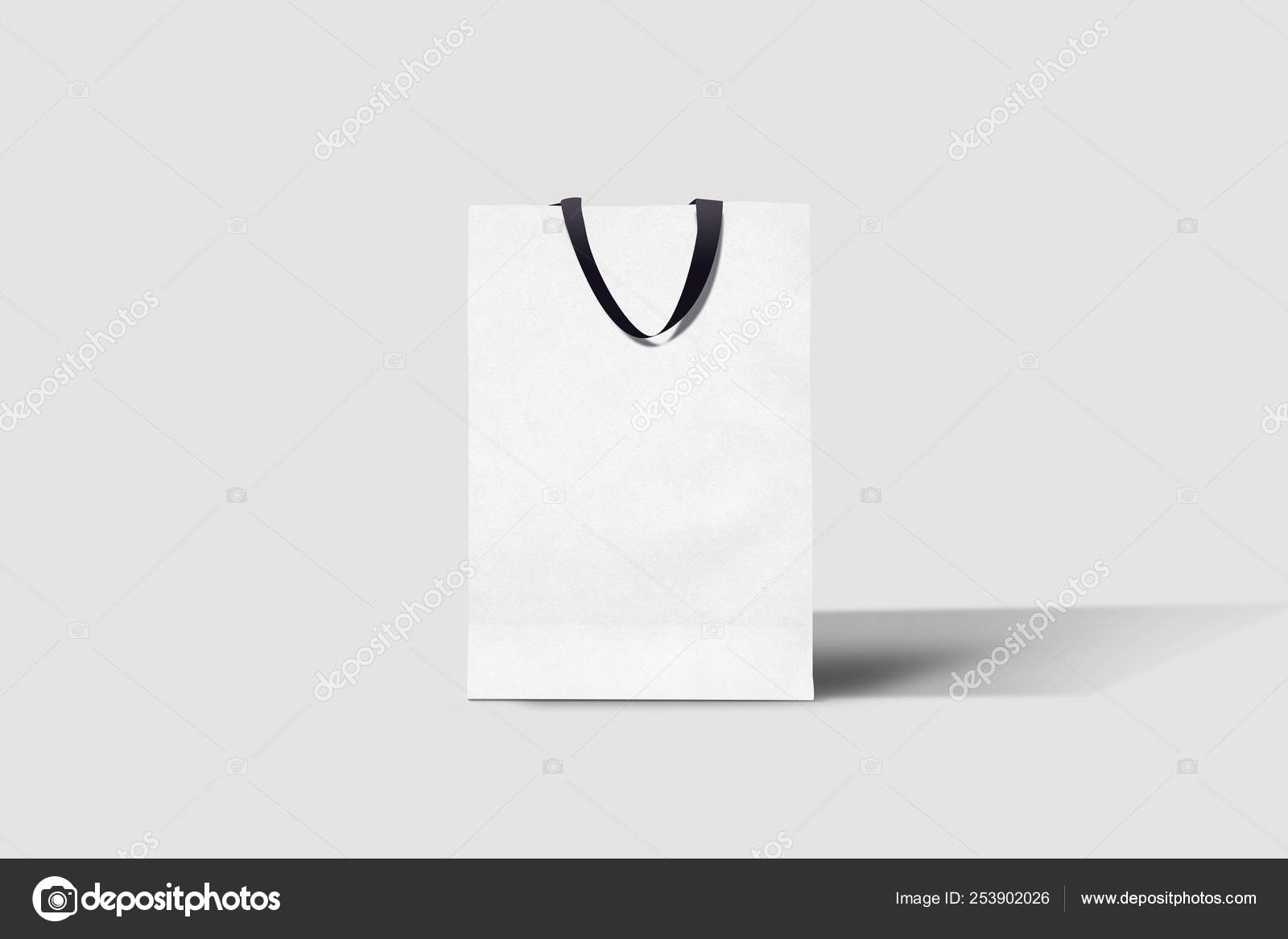 White Paper Shopping Bag Mock Soft Gray Background Used Design Stock Photo Image By C Sabirio Mail Ru 253902026