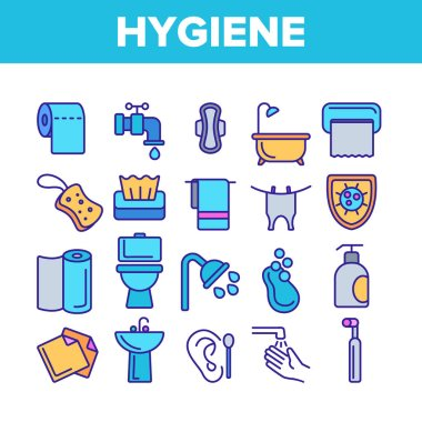 Hygiene, Cleaning Thin Line Icons Vector Set. Sanitary, Personal Hygiene Linear Illustrations. Bathroom, Toilet Items. Washing Hands, Shower, Hygienic Procedures. Body Care Products Outline Symbols icon