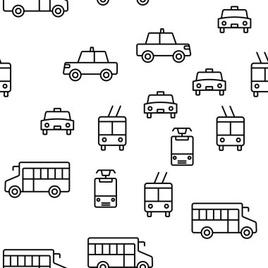 Public Transport And Vehicle Vector Seamless Pattern