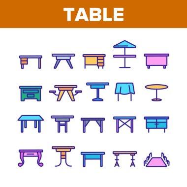 Table Desk Color Elements Icons Set Vector