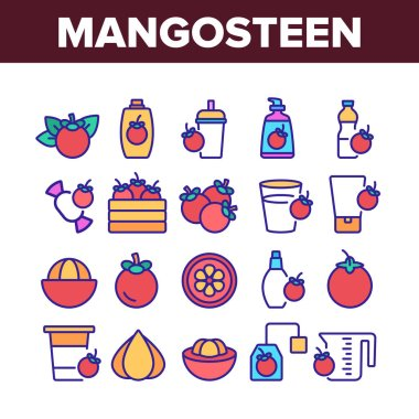 Mangosteen Sweet Fruit Collection Icons Set Vector. Mangosteen Juice And Candy, Tea And Cream Tube, Spray And Package, Juicer And Cup Color Illustrations icon