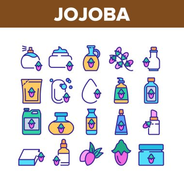 Jojoba Natural Product Collection Icons Set Vector. Jojoba Perfume And Cream, Soap And Oil, Cosmetic Package And Bottle, Drop And Pomade Color Illustrations icon