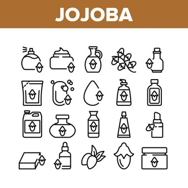 Jojoba Natural Product Collection Icons Set Vector. Jojoba Perfume And Cream, Soap And Oil, Cosmetic Package And Bottle, Drop And Pomade Concept Linear Pictograms. Monochrome Contour Illustrations icon
