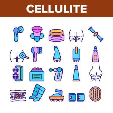 Cellulite Combat Tool Collection Icons Set Vector. Anti-cellulite Cream Cosmetic And Massager Equipment, Cellulite And Fat Research Body Color Illustrations icon