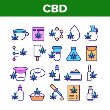 Cbd Cannabis Product Collection Icons Set Vector. Cannabis Drink And Ice Cream, Cake And Pie, Capsule And Flask, Liquid Drop And Bottle Color Illustrations icon