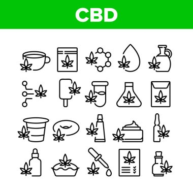 Cbd Cannabis Product Collection Icons Set Vector. Cannabis Drink And Ice Cream, Cake And Pie, Capsule And Flask, Liquid Drop And Bottle Concept Linear Pictograms. Monochrome Contour Illustrations icon
