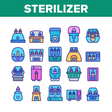 Sterilizer Device Collection Icons Set Vector. Sterilizer Electronic Equipment Milk Bottle For Cleaning, Steaming And Disinfection Color Illustrations icon