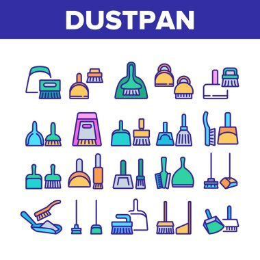 Dustpan And Brush Tool Collection Icons Set Vector. Dustpan And Broom For Cleaning Dust Equipment, Sweeping Housework Cleaner Color Illustrations icon
