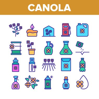 Canola Agricultural Collection Icons Set Vector. Canola Agriculture Flower Field And Pot, Oil And Spray, Greenhouse And Seeds Color Illustrations icon