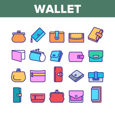 Wallet Accessory Cash Collection Icons Set Vector. Wallet In Different Style For Storaging Money And Coin, Credit Card And Document Color Illustrations icon