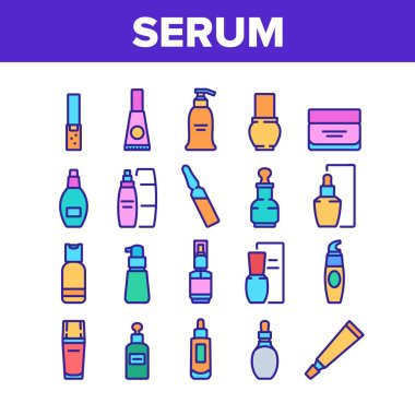 Serum Beauty Cosmetic Collection Icons Set Vector. Serum Skin Care Cream And Perfume, Face Gel And Lotion Package And Container Color Illustrations icon
