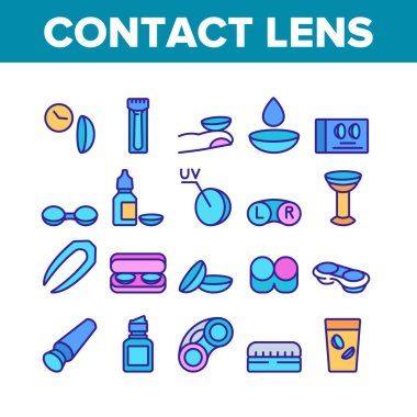 Contact Lens Accessory For Vision Icons Set Vector. Contact Lens Package And In Glass With Liquid, Bottle With Dropper And Medicine Color Illustrations icon
