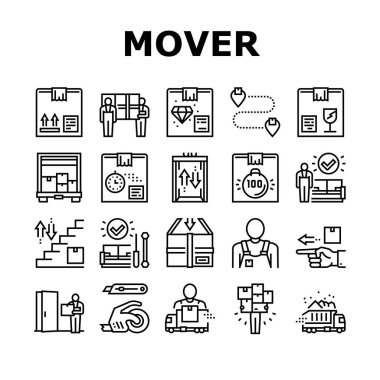 Mover Express Service Collection Icons Set Vector. Mover Worker Delivery Cardboard Box And Couch, Truck Cargo, Knife And Scotch Tape, Black Contour Illustrations icon
