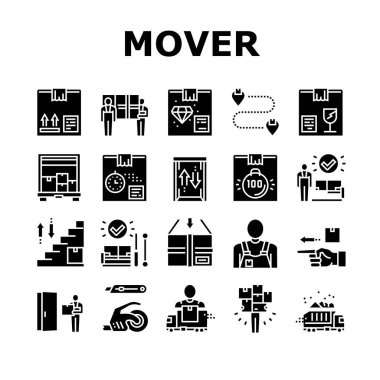 Mover Express Service Collection Icons Set Vector. Mover Worker Delivery Cardboard Box And Couch, Truck Cargo, Knife And Scotch Tape, Glyph Pictograms Black Illustrations icon