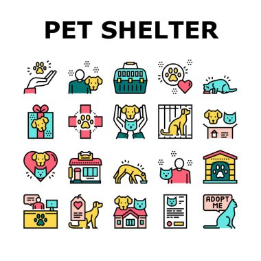 Animal Pet Shelter Collection Icons Set Vector. Pet Shelter Building And Worker, Eating Cat And Dog, Puppy Present And Medical Document Color Contour Illustrations icon