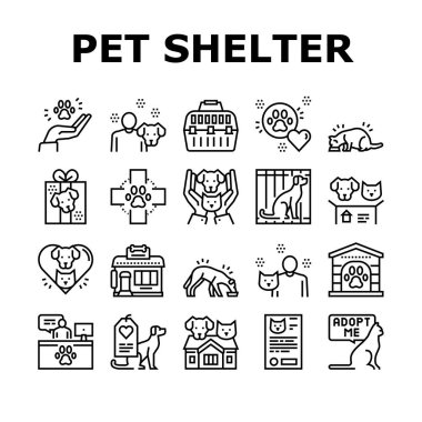 Animal Pet Shelter Collection Icons Set Vector. Pet Shelter Building And Worker, Eating Cat And Dog, Puppy Present And Medical Document Black Contour Illustrations icon