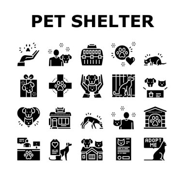 Animal Pet Shelter Collection Icons Set Vector. Pet Shelter Building And Worker, Eating Cat And Dog, Puppy Present And Medical Document Glyph Pictograms Black Illustrations icon
