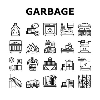 Factory Garbage Waste Collection Icons Set Vector. Industry Plant Recycling And Burning Trash, Truck Garbage Transportation And Landfill Black Contour Illustrations icon