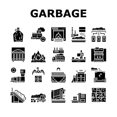Factory Garbage Waste Collection Icons Set Vector. Industry Plant Recycling And Burning Trash, Truck Garbage Transportation And Landfill Concept Linear Pictograms. Color Contour Illustrations icon