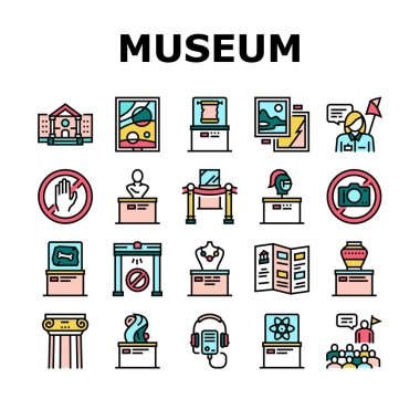 Museum Gallery Exhibit Collection Icons Set Vector. Museum Building And Paint, Sculpture And Statue, Audio Guid Player And Metal Detector Concept Linear Pictograms. Color Contour Illustrations icon