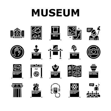 Museum Gallery Exhibit Collection Icons Set Vector. Museum Building And Paint, Sculpture And Statue, Audio Guid Player And Metal Detector Glyph Pictograms Black Illustrations icon