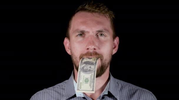 Man is eating money