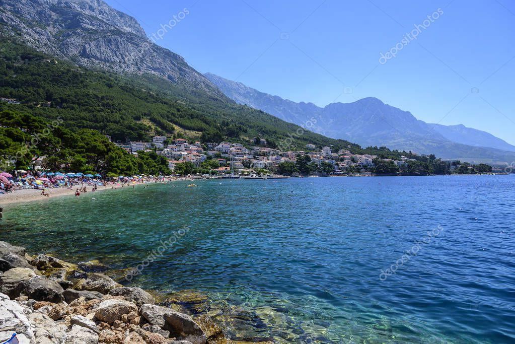 Amazing View Of Brela Beach, Dalmatia, Croatia.
