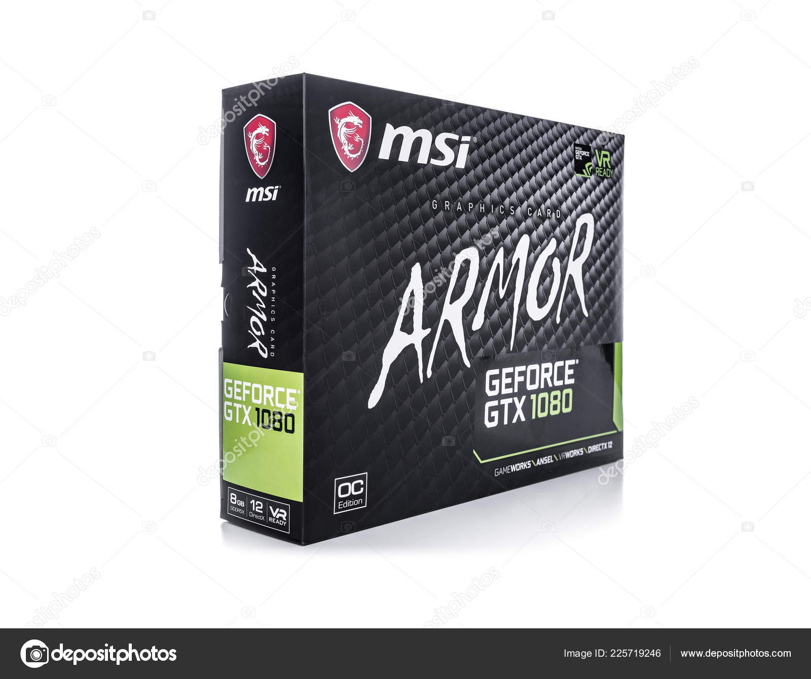 Box of Graphic card MSI GeForce GTX1080 ARMOR on white background
