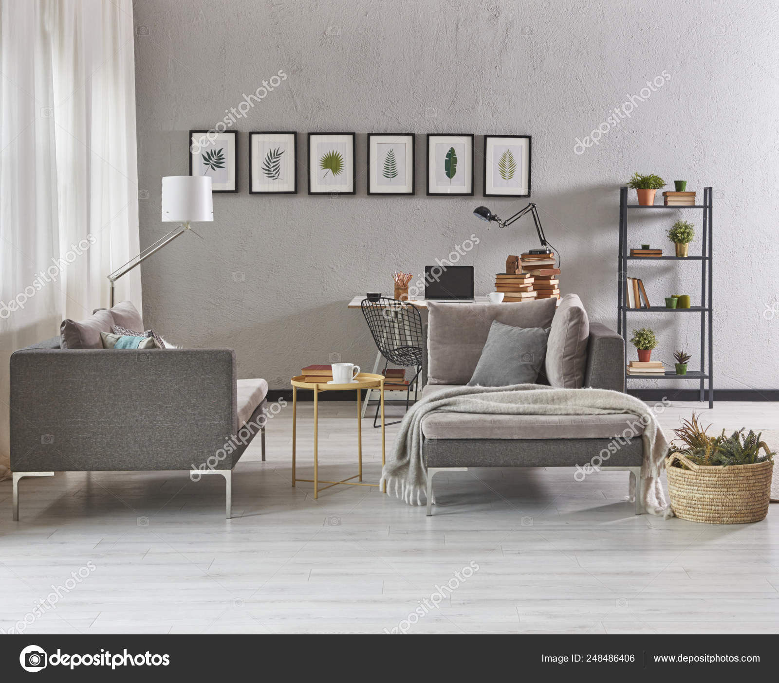 Grey Living Room Furniture Sofa Modern Home Decoration Pictures Stock Photo Image By C Unitedphotostudio 248486406