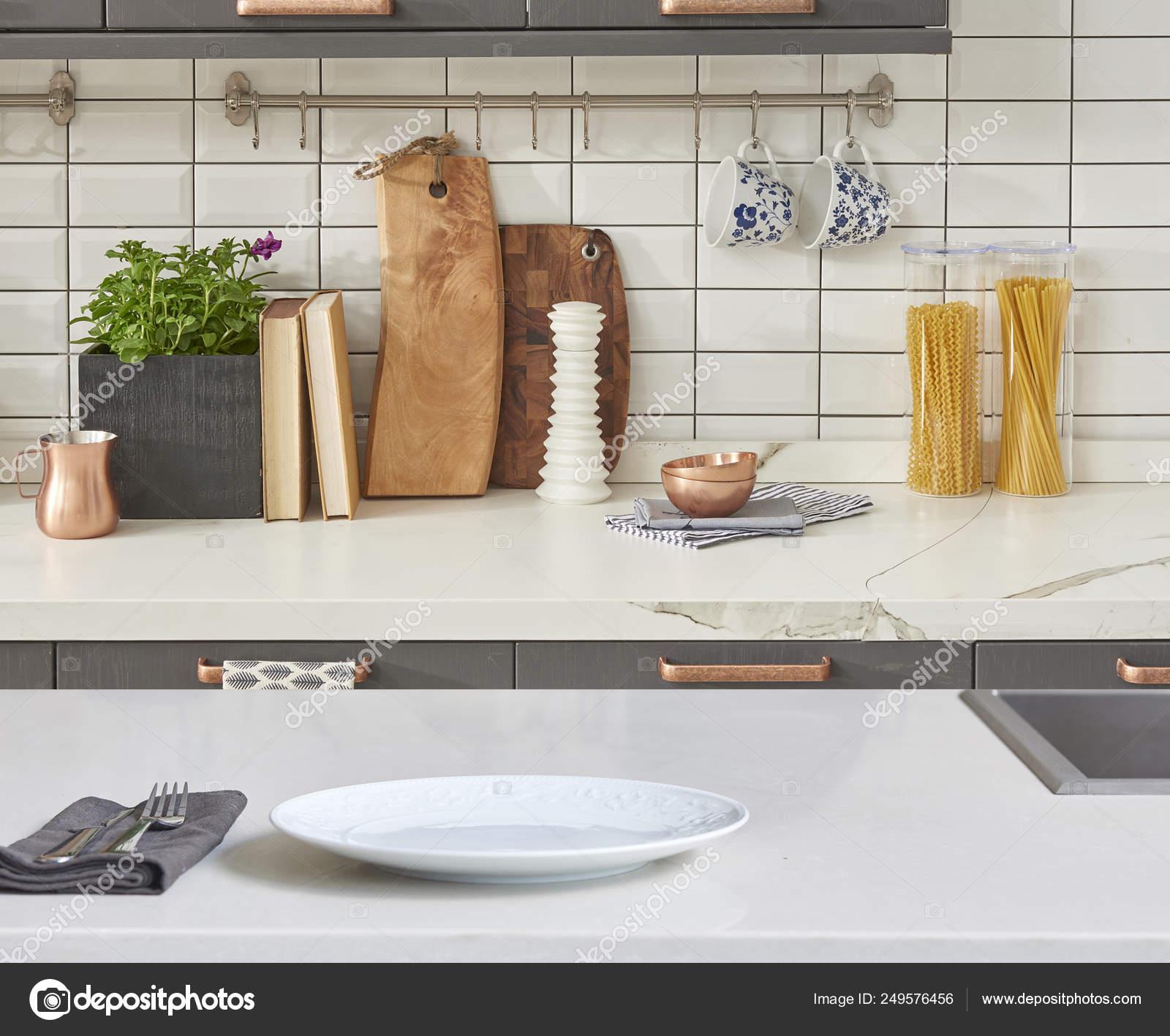 Background Modern Table Modern Kitchen Accessories Interior ...