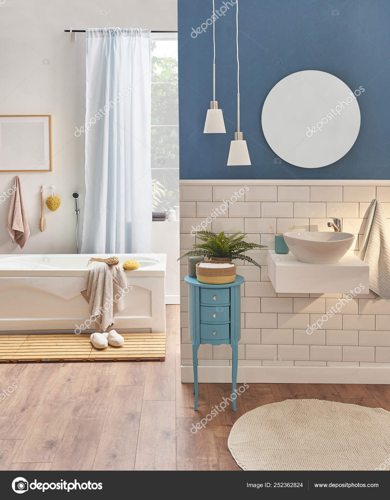 White Blue Wall Decoration White Ceramic Sink Style Bath Room Stock Photo C Unitedphotostudio 252362824