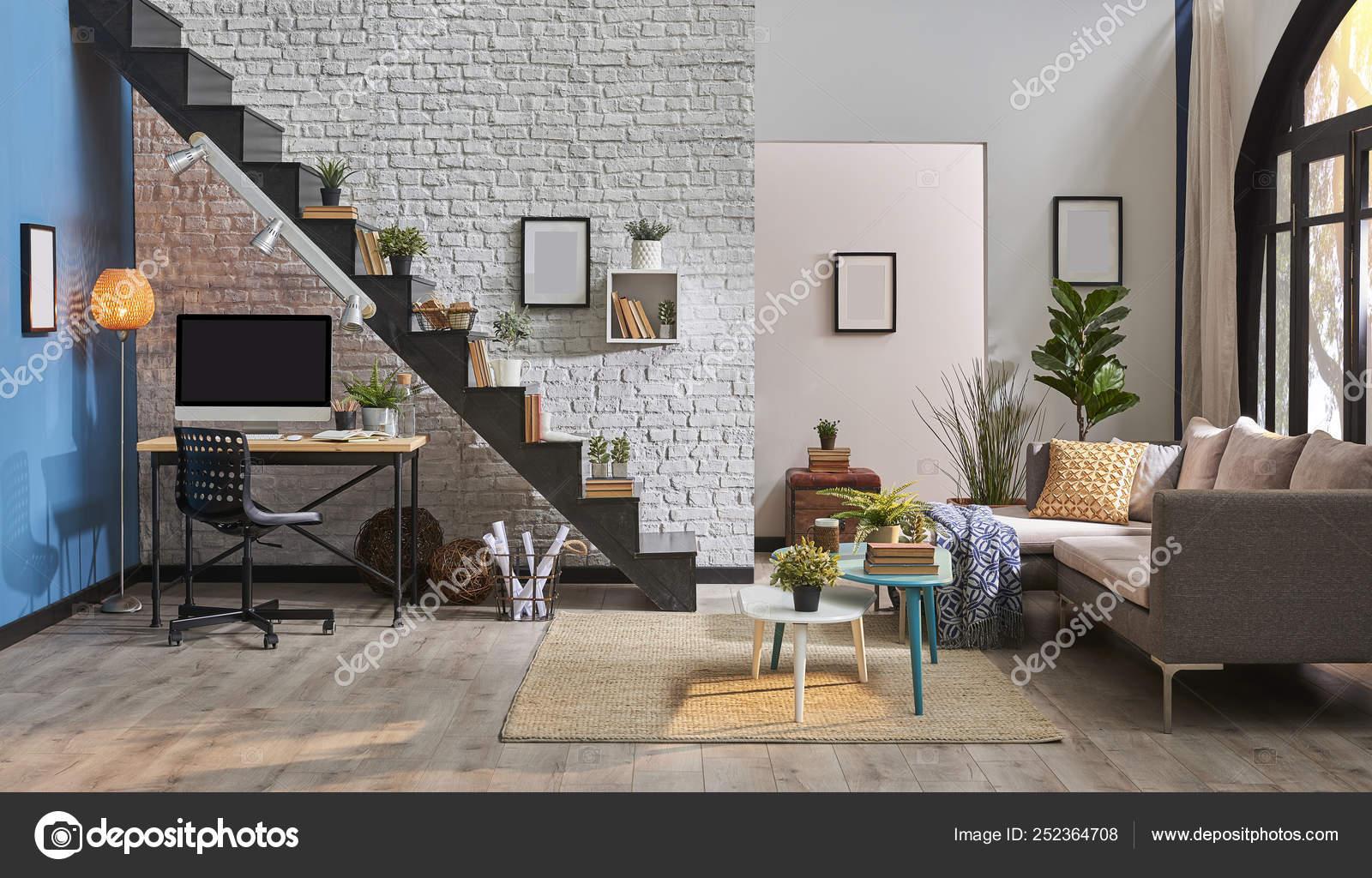 Modern Living Room White Brick Wall Wooden Desk Desktop Black Stock Photo Image By Unitedphotostudio 252364708