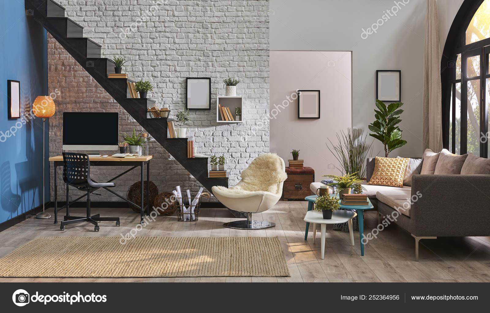 Modern Living Room White Brick Wall Wooden Desk Desktop Black Stock Photo Image By Unitedphotostudio 252364956